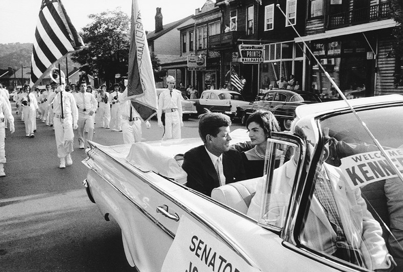 Jackie and JFK in Campaign Car, Wheeling, 1959