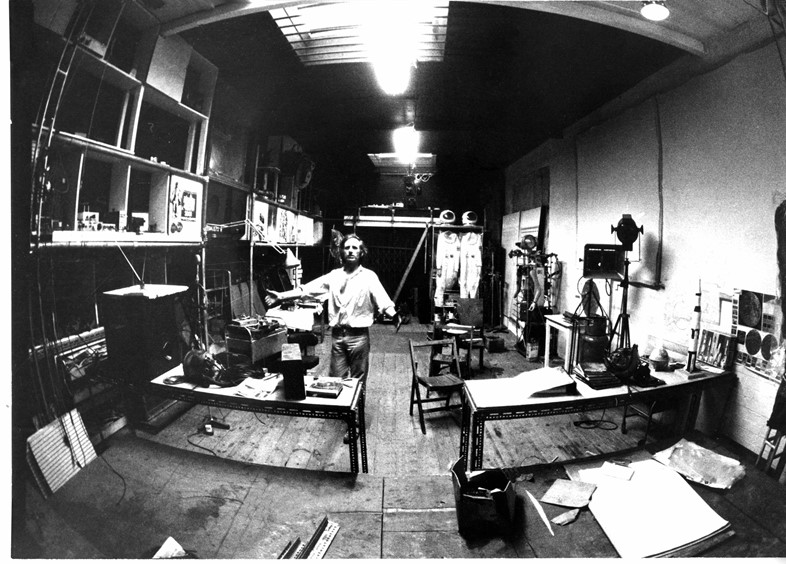 14. Bruce Lacey in his studio at Martello Street,