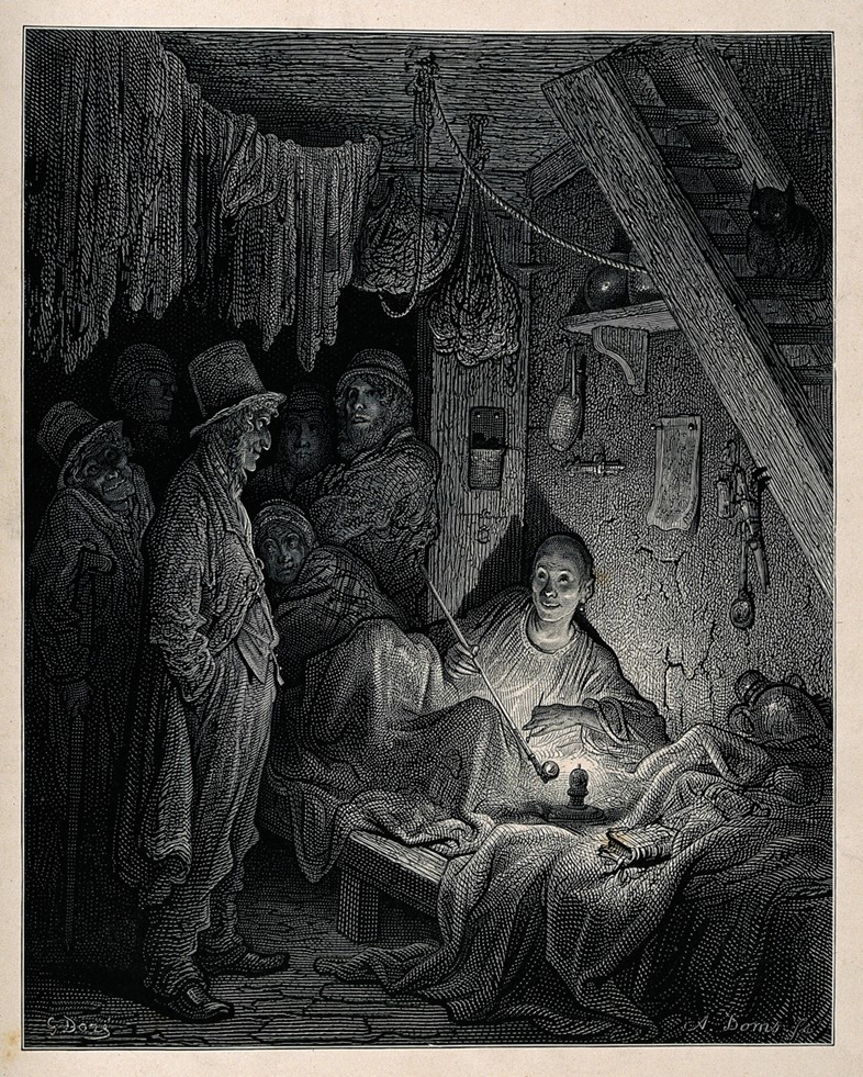 An opium den in London's East End with a reclining smoker be