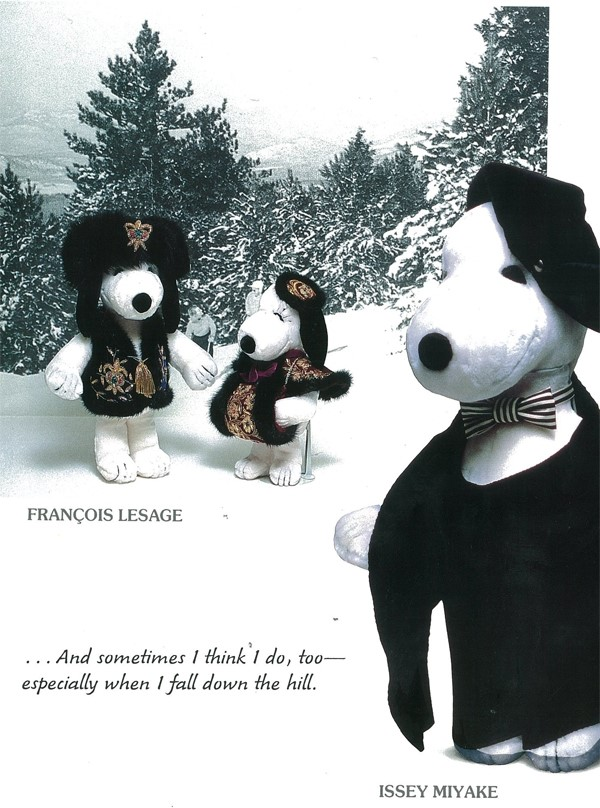 Snoopy dressed by François Lesage and Issey Miyake