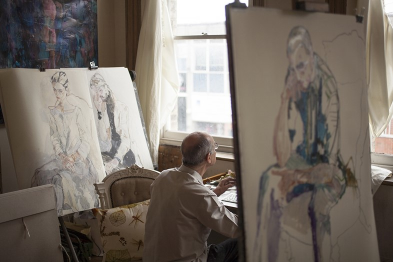 Howard Tangye in his studio
