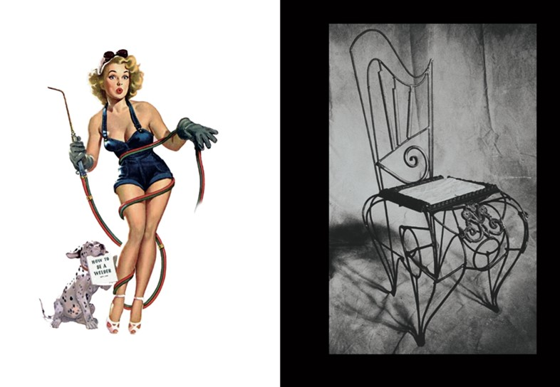 (L) 1950s welder pin-up, (R) Tom Dixon, Marble Seat Chair, 1