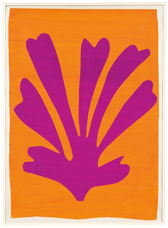 Henri Matisse, Violet Leaf on Orange Background (Palmette),