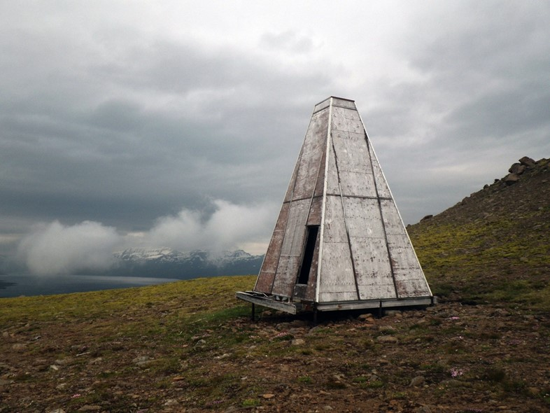 Abandoned survival shelter in the Eastern Fiords of Iceland