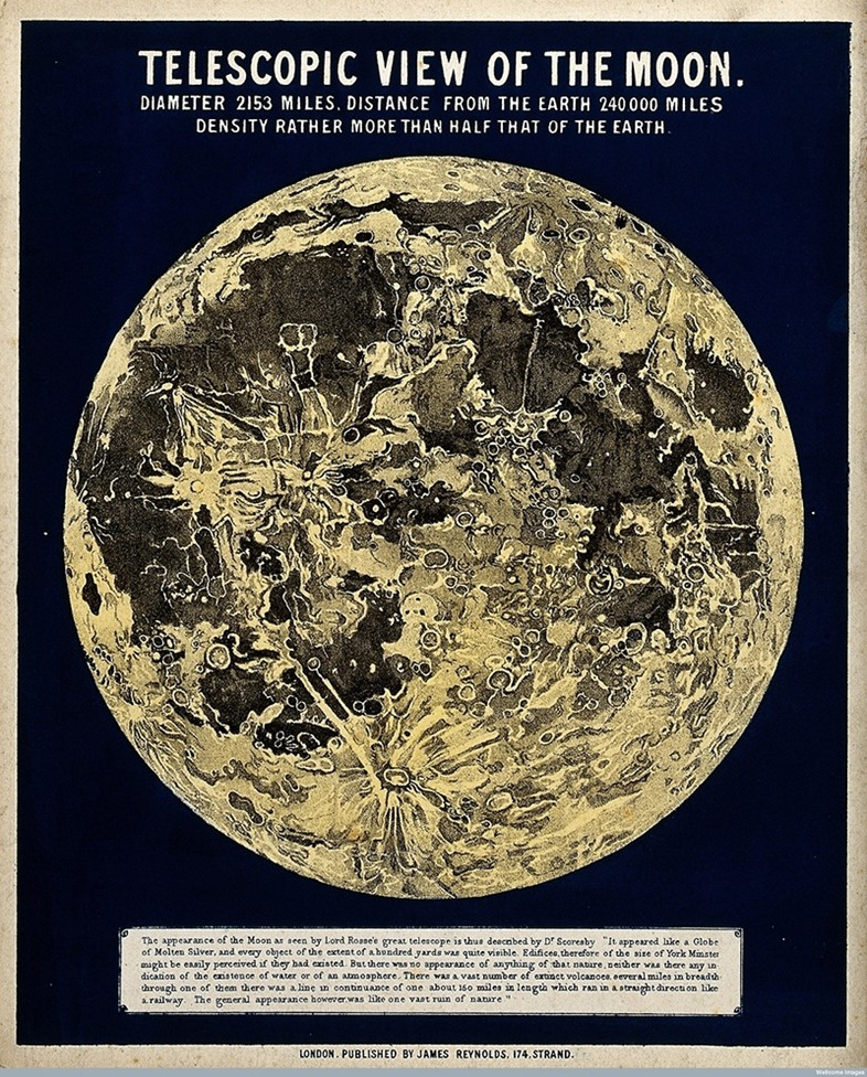 John Philipps Emslie, Telescopic View of the Moon, mid-1800s