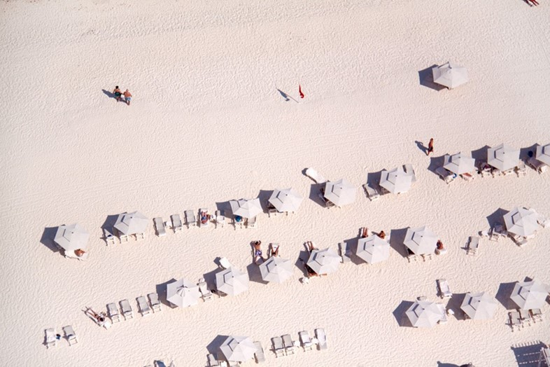 White Umbrellas, White Sand