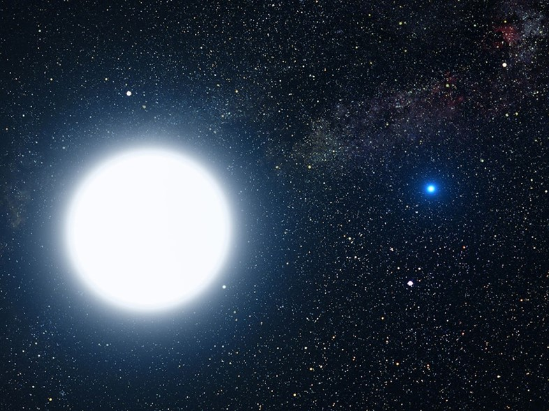 An artist's impression of Sirius A (left) and B (right)