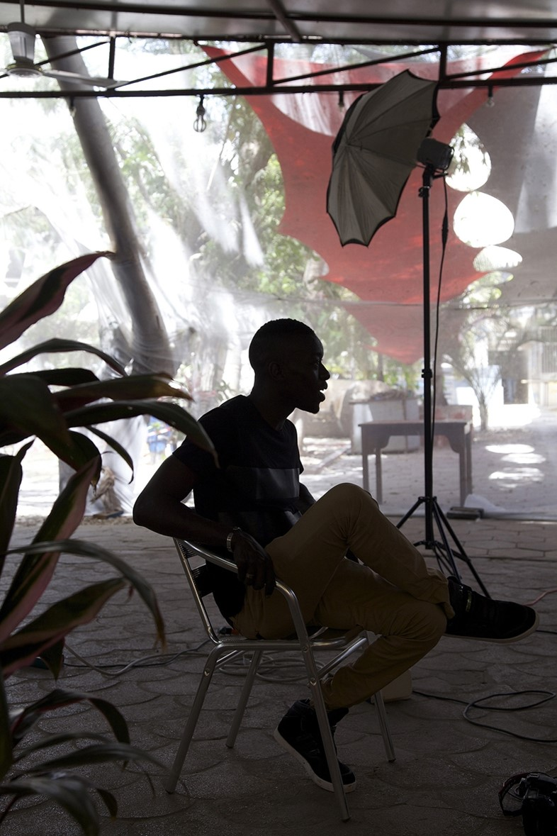 Omar Viktor Diop in his pop-up studio at the Institut Franca