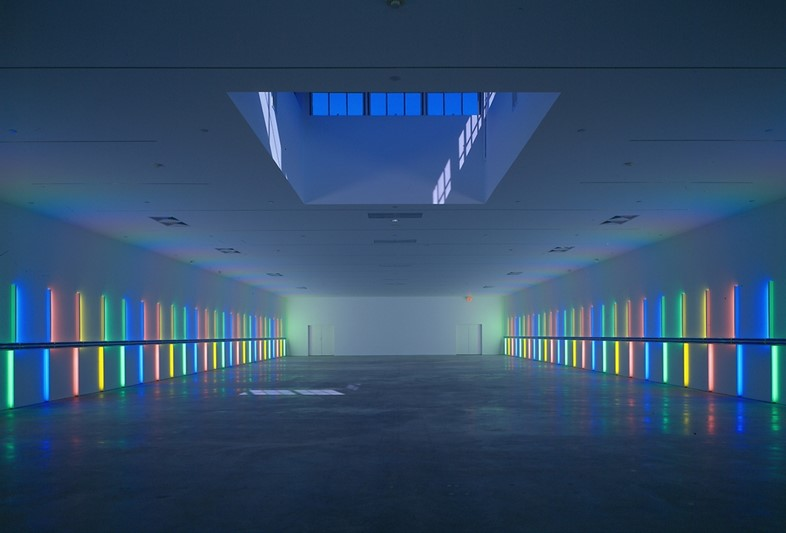 Dan Flavin, site specific instillation, Menil Collection, 19