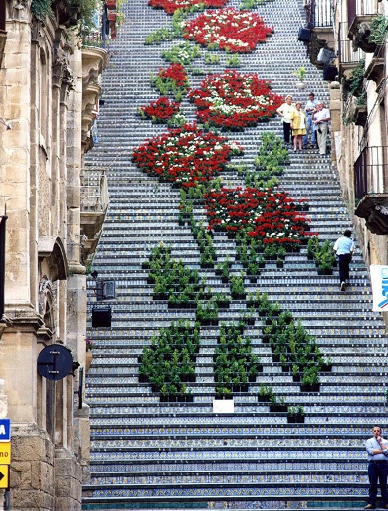 Floral steps in Sicily, Italy