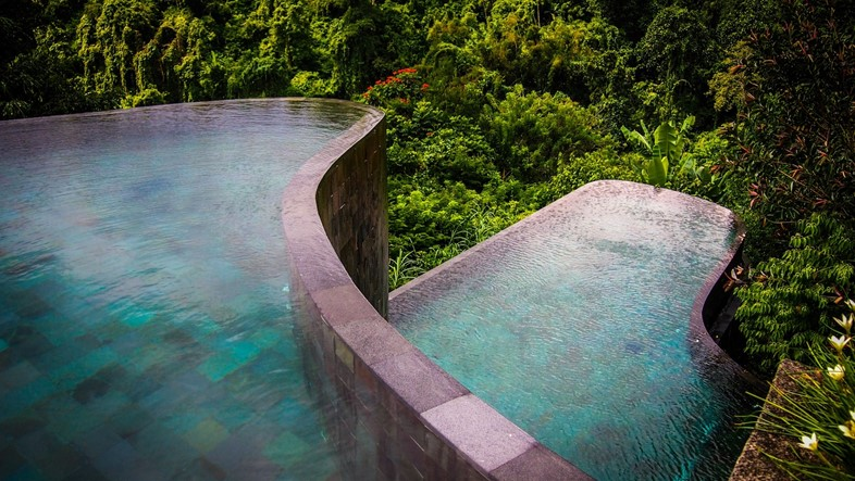 Tiered infinity pool at Hanging Gardens Ubud in Bali, Indone