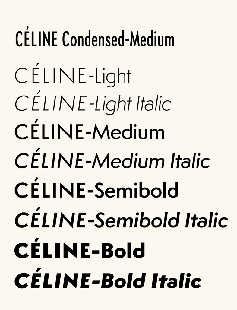Styles of the Céline font by Hannes Famira, 2008