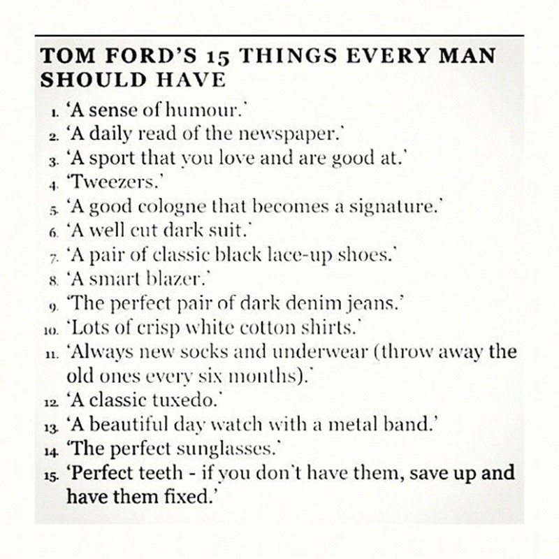 Tom Ford's 15 Things Every Man Should Have