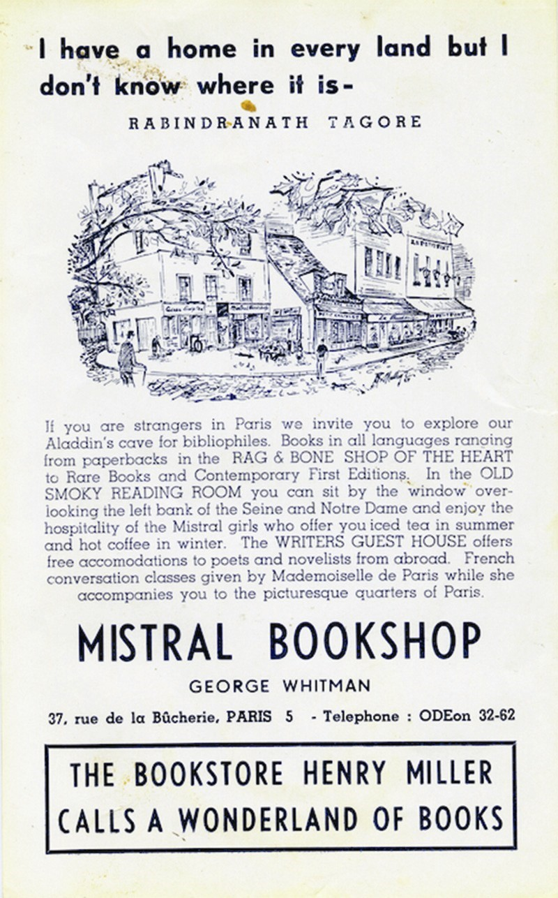 Publicity for Le Mistral Bookshop