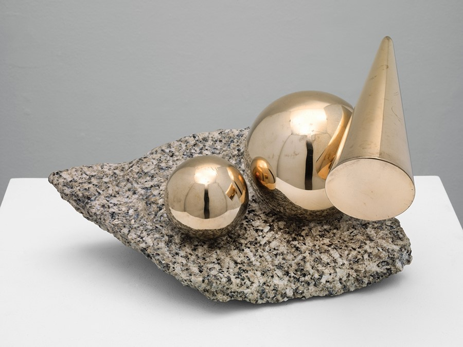 Marlow Moss, Balanced Forms in Gunmetal on Cornish Granite,