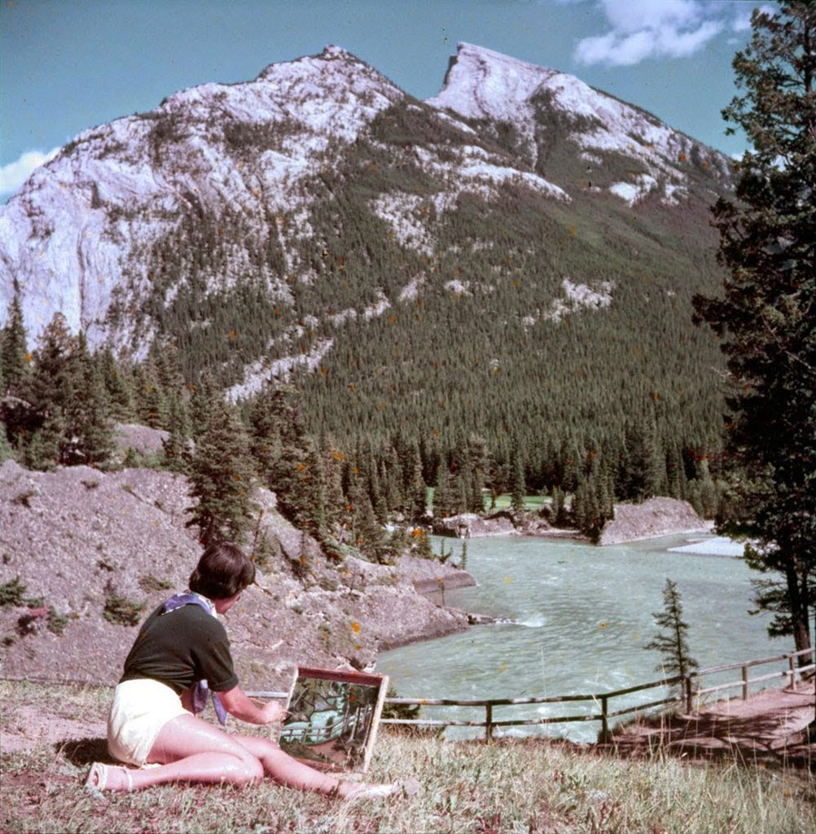 A Woman Paints Near the Bow River, 1953
